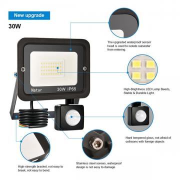 bapro 30W Security Lights with Motion Sensor,Led Floodlight Super Bright, Garden Lights Warm White(3000K), IP65 Waterproof Perfect for Garage, Garden and Forecourt[Energy Class A++]