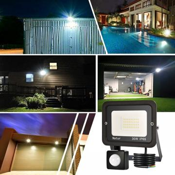 bapro 30W Security Lights with Motion Sensor,Led Floodlight Super Bright, Garden Lights Cold White(6000K), IP65 Waterproof Perfect for Garage, Garden and Forecourt[Energy Class A++]