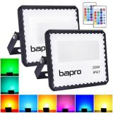 [2 Pack] bapro 20W LED RGB Floodlights with Remote Control, IP67 Waterproof Dimmable Decorative Coloured Flood Light 16 Colours 4 Modes,Coloured Floodlight with Remote Control。[Energy Class A++]