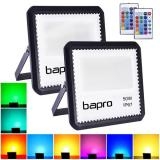 [2 Pack] bapro 50W LED RGB Floodlights with Remote Control, IP67 Waterproof Dimmable Decorative Coloured Flood Light 16 Colours 4 Modes,Coloured Floodlight with Remote Control。[Energy Class A++]